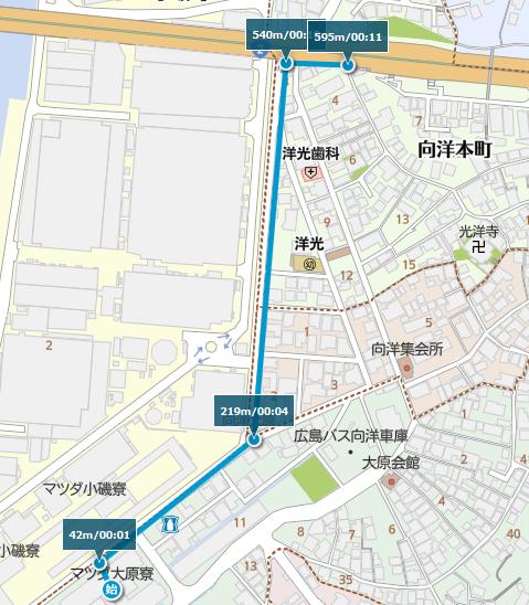 大原寮から向洋本町バス停までの地図